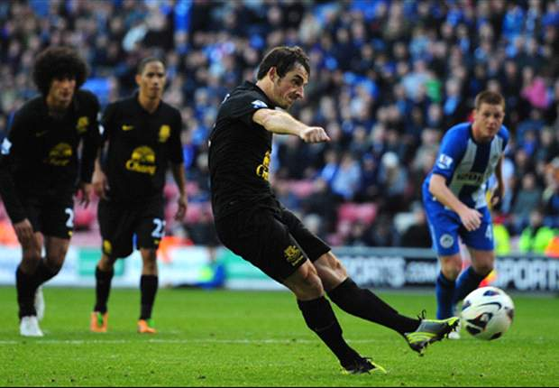 Wigan 2-2 Everton: Last-gasp Baines penalty saves Moyes' men