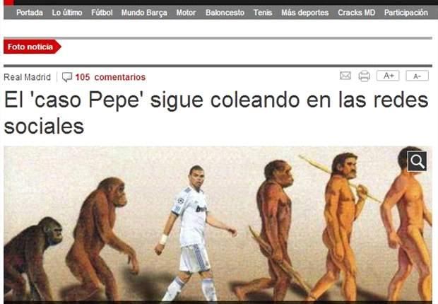 El Mundo Deportivo compara a Pepe con un primate