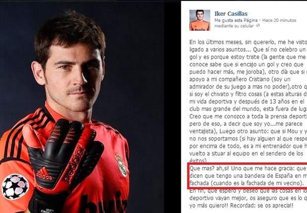 Iker Casillas se defiende en Facebook: Las parodias de Toquero, Mourinho y Guardiola lo analizan