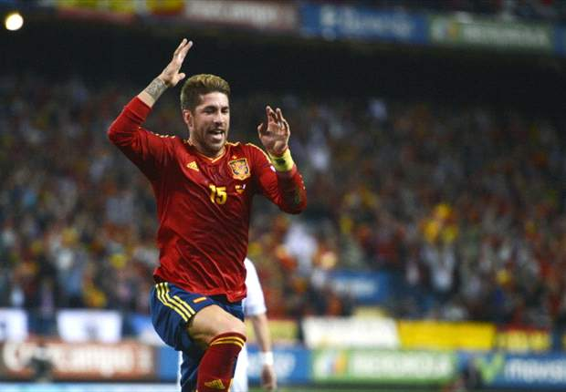 Sergio Ramos of Spain celebrates one of his goals