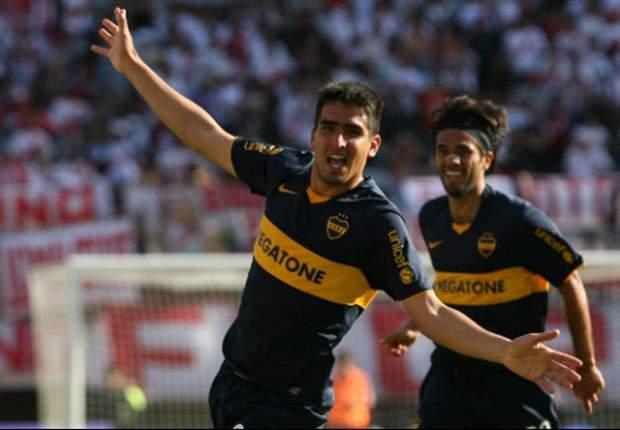 Lucas Viatri lo grita: Apertura 08, penúltimo triunfo de Boca en Núñez.
