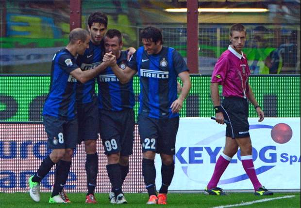 Inter 2-0 Catania: Cassano and Palacio maintain Nerazzurri's league-best winning streak