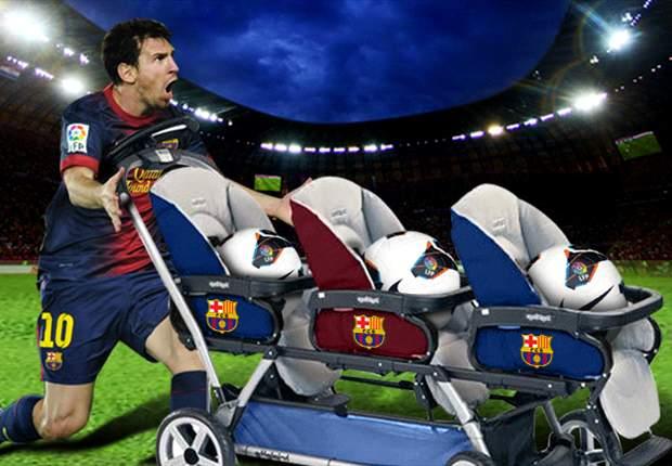 Lionel Messi y un bebé que vendrá con tres balones bajo el brazo