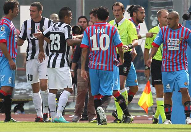 The Juventus bench 'badgered and harassed' the linesman into changing his decision, claims Catania president