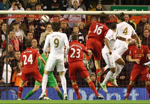Pertemuan Liverpool dan Swansea City di ajang Piala Liga musim lalu.
