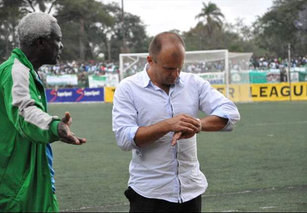 Gor Mahia coach Logarusic (r) has been sacked and Ogolla appointed as caretaker
