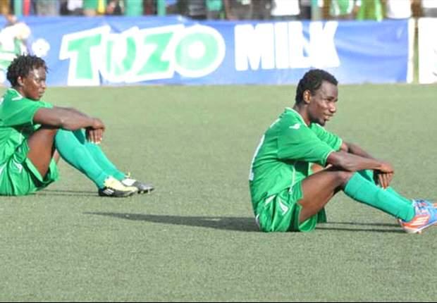 Gor Mahia players reacting after being denied by Thika United last season