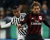 Juventus defender Alex Sandro challenges Milan winger Alessio Cerci