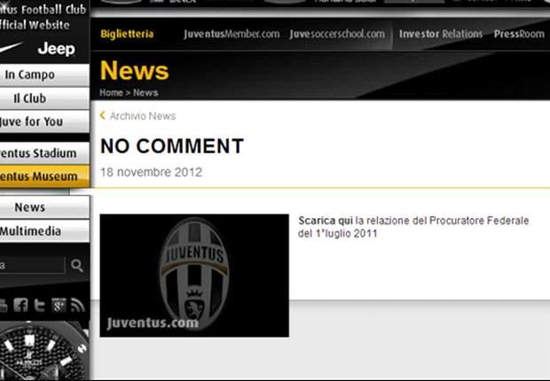 Moratti rievoca Calciopoli, la Juventus non ci sta: sul sito ufficiale spunta un 'No comment' e si ricorda la prescrizione