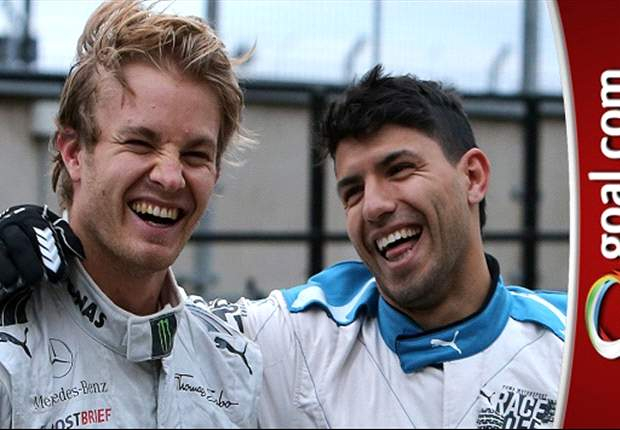 Extra Time: Formula One prospect? Manchester City striker Aguero dazzles Nico Rosberg with driving skills