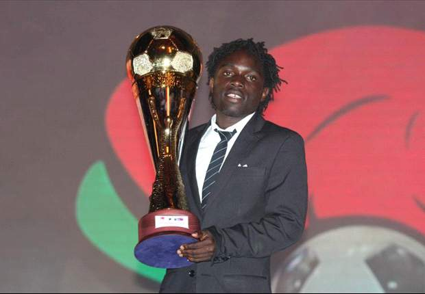 Gor Mahia striker Dan Sserunkuma with the Player of the Year trophy