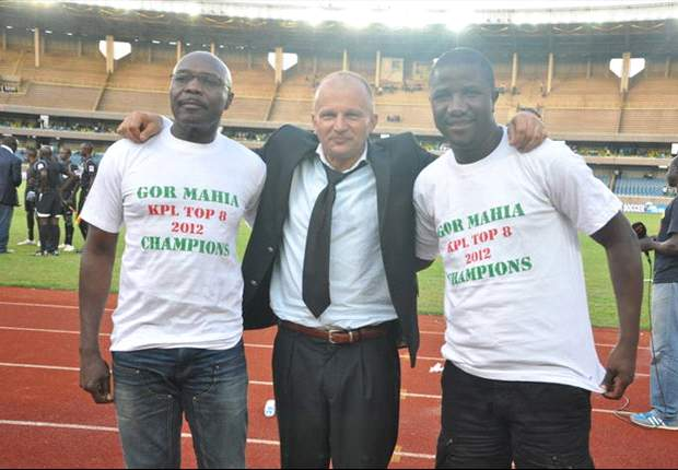 Gor Mahia coach Zdravko Logarusic with chairman Rachier and secretary George Bwana