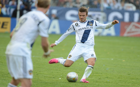 David beckham playing football