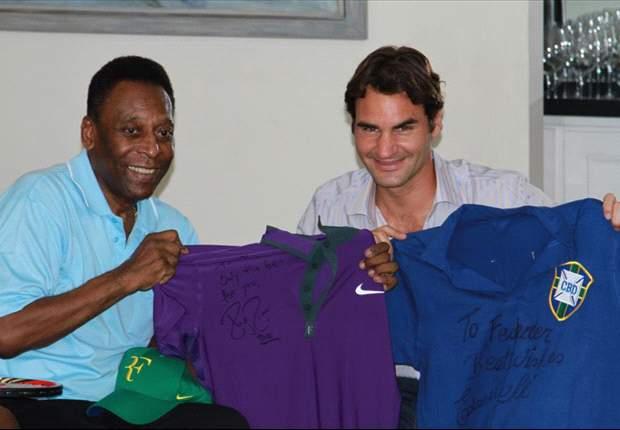 Federer y Pelé intercambian camisetas
