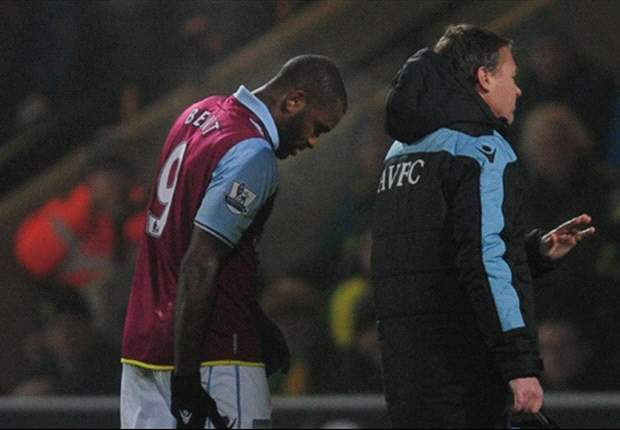 Injured Bent ruled out of Aston Villa's festive fixtures