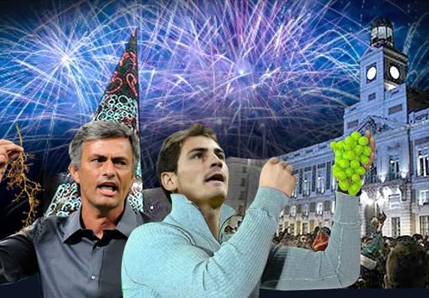 Mourinho y Casillas comen juntos las uvas con deseos muy dispares
