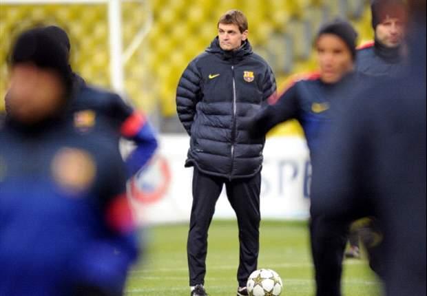 Tito Vilanova dirige la sesión previa al derbi ante el Espanyol