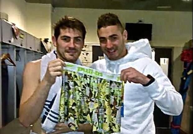 Benzema presume de calzoncillos ante Casillas