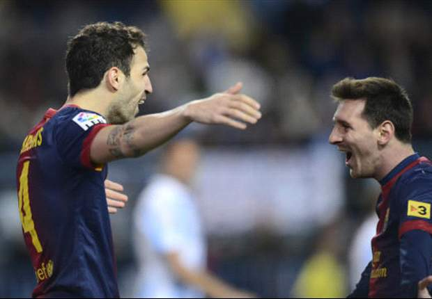 Malaga 1-3 Barcelona: Messi & Cesc exploit hosts' defensive errors