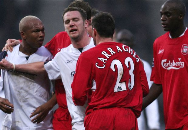 Diouf labels Carragher 'the biggest turkey he's seen play football'