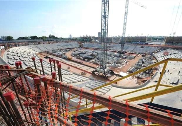 Immer wieder gibt es beim Bau der Arena Amazonia Probleme