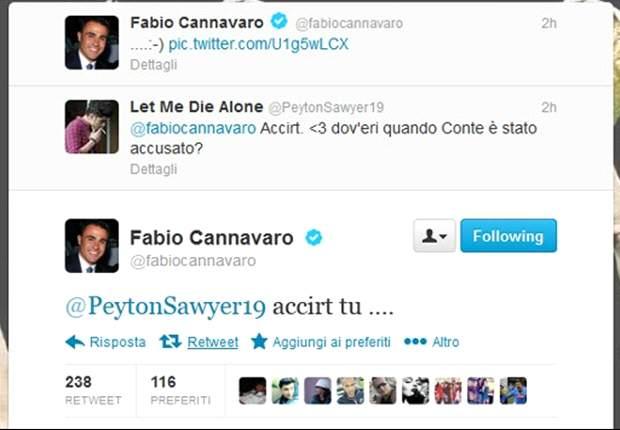 """Fabio Cannavaro festeggia l'assoluzione del fratello Paolo, ma uno juventino lo stuzzica su Twitter: """"Dov'eri quando Conte è stato accusato?"""". Il risultato? Un bel litigio in napoletano..."""