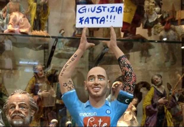 """A Napoli per festeggiare la sentenza hanno tirato fuori il Presepe: in risalto la statuina di Cannavaro col cartello """"Giustizia è fatta"""""""