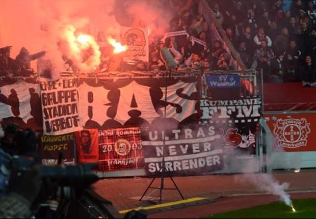 Spielunterbrechung in Leverkusen! Die Chaoten sind zurück