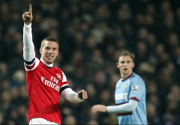 Arsenal striker Podolski eyeing top four finish following West Ham romp
