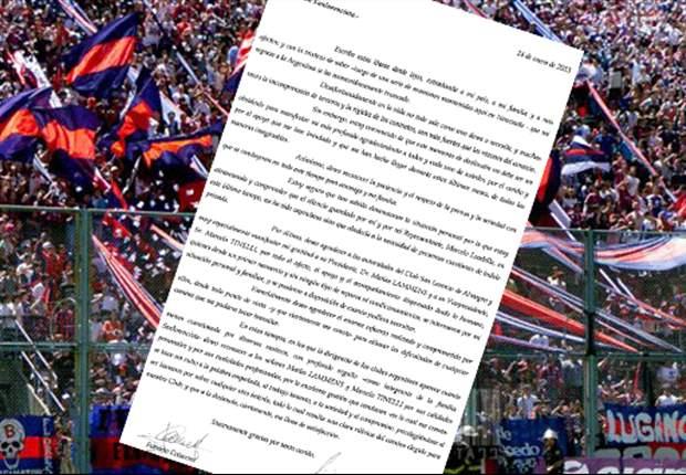 Carta de Coloccini a los hinchas de San Lorenzo