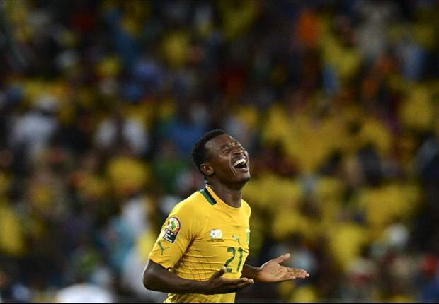 Sangweni in happy times celebrating a goal back home in Durban for Bafana