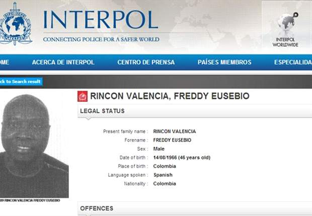 Rincon buscado por la Interpol