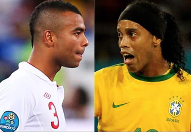 Inglaterra x Brasil: Ashley Cole e Ronaldinho Gaúcho prestes a completarem 100 jogos por suas seleções