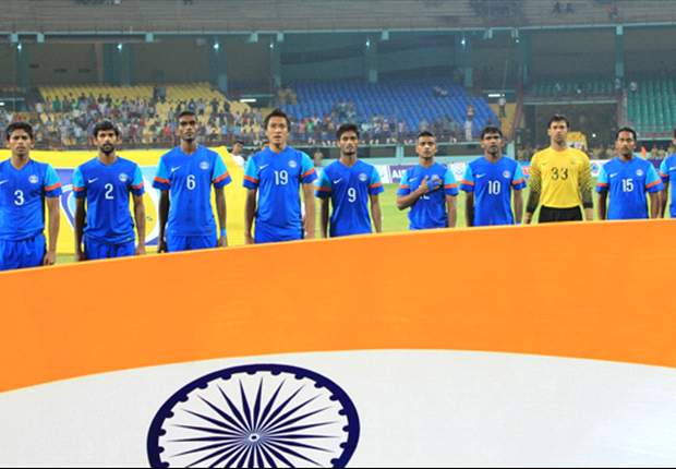 The Indian National Team during the National Anthem (Photo: AIFF Media)