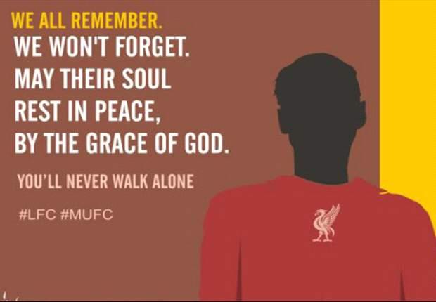 Liverpool homenageia vítimas da maior tragédia da história do Man.United