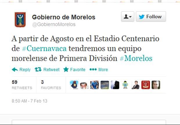 El Gobierno de Morelos asegura que tendrá equipo de Primera División en agosto