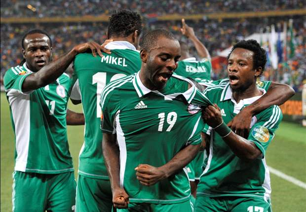 The Super Eagles of Nigeria celebrating a goal
