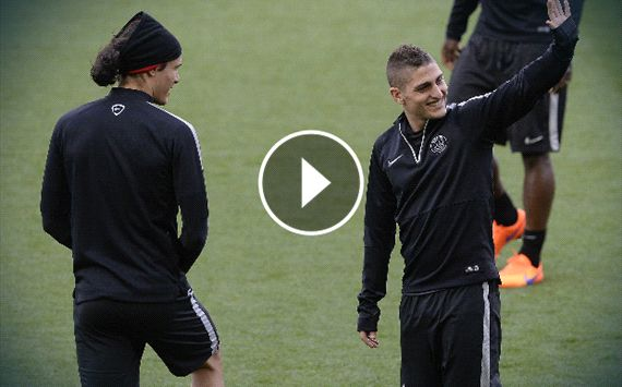 VIDEO: Verratti & Cavani's Cone Challenge