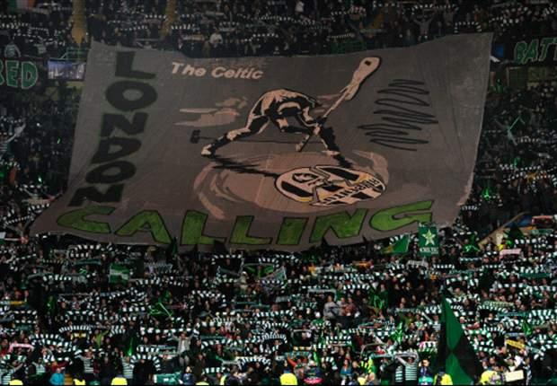 """A Celtic Park è sfida di cori e striscioni, ed è una gara a chi fa peggio tra juventini e scozzesi... """"Se saltelli muore Balotelli"""", """"Rubentus!"""""""