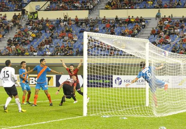 Shahrazen Said netting for DPMM in a 3-3 thriller against Hougang in the league earlier this year
