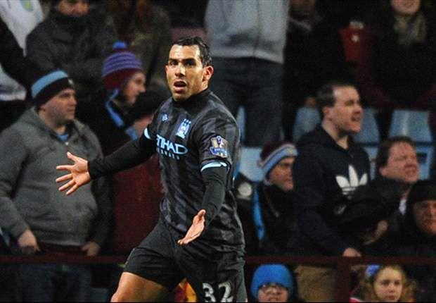 Aston Villa 0-1 Manchester City: Tevez punishes Clark error to keep visitors' slim title hopes alive