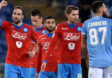 Higuain-Callejon, urlo Napoli: 2-0 alla Lazio