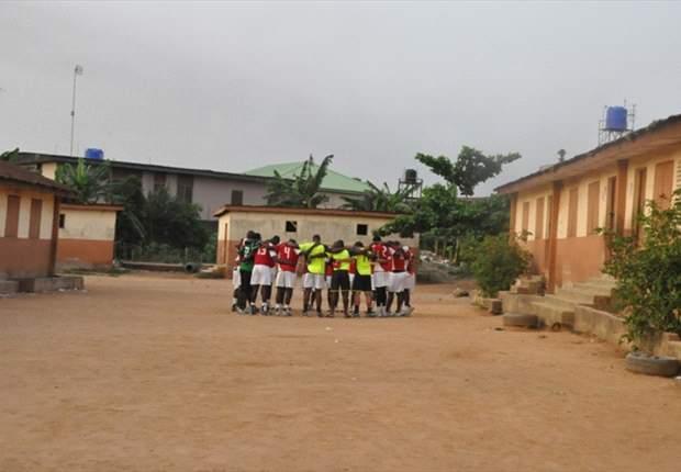 The Harambee Stars huddled together after training in Oshodi on Wednesday. Photo by Lolade Adewuyi