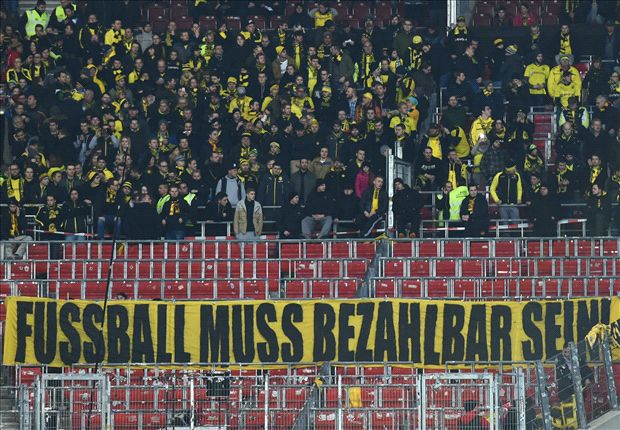 Dortmund fans stage tennis ball protest over £15 tickets
