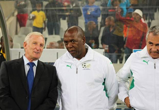 Bafana coach Gordon Igesund together with his assistant Serame Letsoaka
