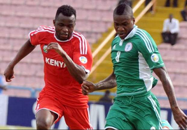 Kenya and Nigeria players in action during the first leg match in Calabar