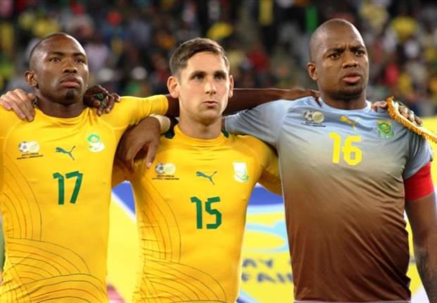 Goalscorers Dean Furman and Bernard Parker along with SA captain Itumeleng Khune
