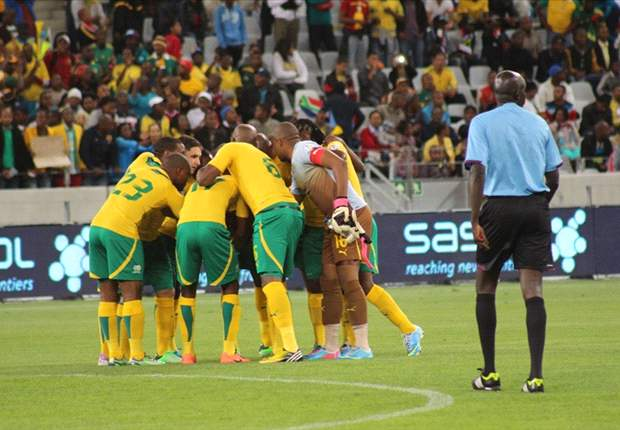 Bafana Bafana in a huddle