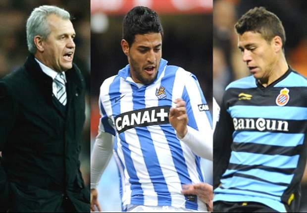 Carlos Vela busca su primera victoria ante Héctor Moreno y Javier Aguirre en el Espanyol vs Real Sociedad