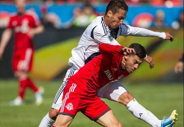 Jonathan Osorio (R) in action against LA Galaxy earlier this season.